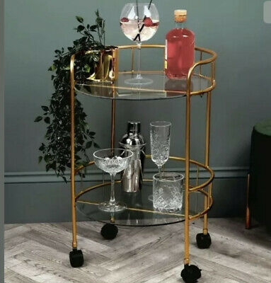 £58.99 • Buy Home Collections 2 Tier Round Drinks Trolley Art Deco Vintage Retro Gold Effect