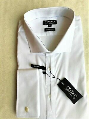 £20 • Buy Mens White Jeff Banks Slim Fit Double Cuff Shirt: 19  Collar - NEW WITH TAGS!