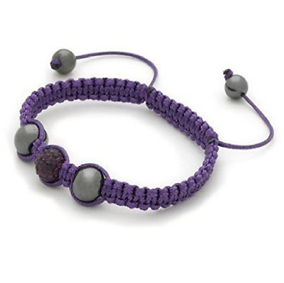 Designer Inspired 'Indi' Purple Czech Crystal Disco Ball Shamballa Bracelet • 8.99£