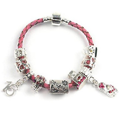 £17.99 • Buy Teenager's Daughter 'Little Mix' Age 13/16/18 Pink Braided Charm Bead Bracelet
