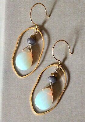$ CDN12.62 • Buy New Unique Opalite Aquamarine Earrings Gold Plated+ Free Anthropologie Gift Bag