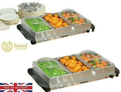 £30.99 • Buy Daewoo 3 X 1.2L Electric Buffet Server Dishes Serving And Plate Warmer