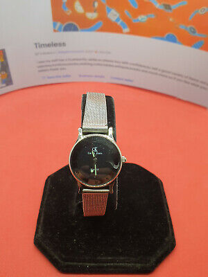 £38.99 • Buy Ladies Ck Calvin Klein Silver Tone Bracelet Watch,black Face,chainmail Strap#165