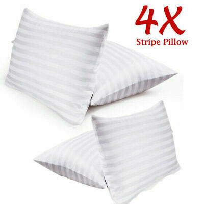 £11.45 • Buy Pack Of 4 Hotel Quality Egyptian Stripe Pillows Luxury Soft Hollowfibre Filled