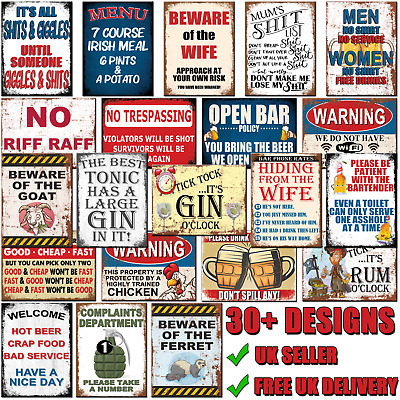 £3.95 • Buy Funny Metal Signs Retro Wall Plaque House Garage Shed Cave Joke Novelty Tin Sign