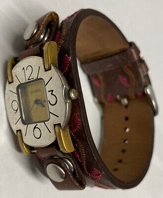 $ CDN73.74 • Buy Women's Unique Fossil Watch Wide Leather Cuff Band New Battery