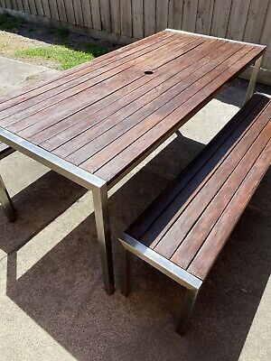 AU700 • Buy 3pc Timber Outdoor Dining Table Bench Seat Setting Merbu Stainless Steel 1800mm