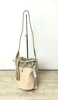 My Choice Bucket Leather And Suede Large Shoulder Bag With String Tie Color Nude • 99.81£