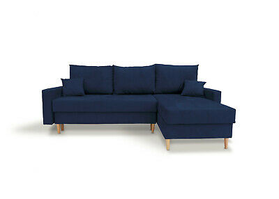 £409 • Buy Corner Sofa Bed With Storage Compartment Scandinavian Style Blue Fabric