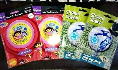 Helium Balloons Pack Of 4...Two Different Designs Dora / Shaun The Sheep • 3.99£