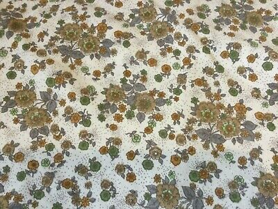 Cream And Brown Cotton Vintage Furnishing Fabric • 5.95£