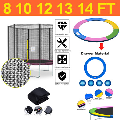 £28.99 • Buy 8 10 12 13 14 Replacement Trampoline Safety Net And Spring Cover Padding Pads UK