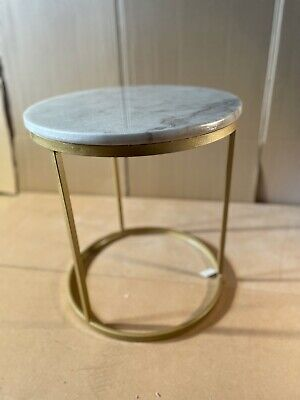 £60 • Buy Marble Top Round Side Or Lamp Table In Gold Wrought Iron