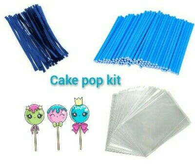 £3.85 • Buy 50 X BLUE CAKE POP KIT 3.5  PAPER LOLLY STICKS 3 X 5  CELLO BAGS & METALLIC TIES