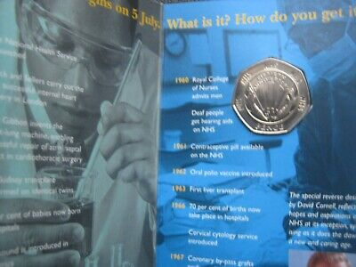 UK 1948-1998 ~ NHS 50th Anniversary ~ BUNC 50 Pence Coin By Royal Mint In Folder • 34.99£