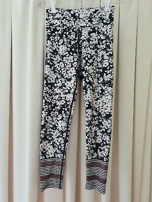 AU26 • Buy Dharma Bums Black White Floral Full Length Tights - Size M