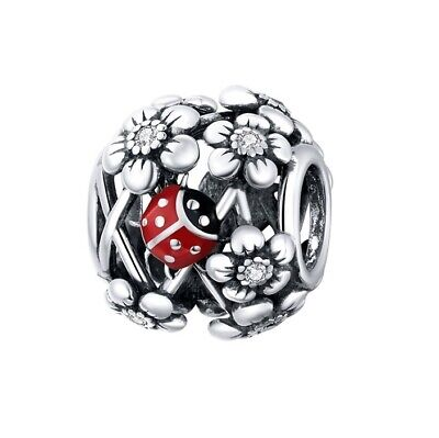 AU26.99 • Buy SOLID Sterling Silver Floral Ladybird Garden Round Charm By Pandora's Wish