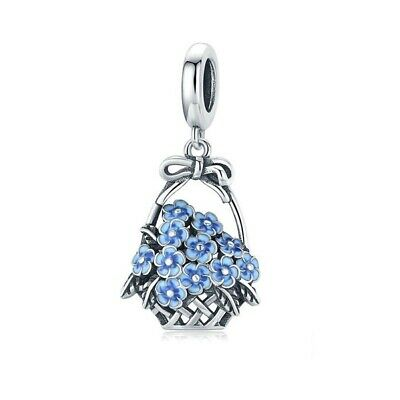 AU25.99 • Buy SOLID Sterling Silver Vintage Basket Of Blue Flowers Charm By YOUnique Designs