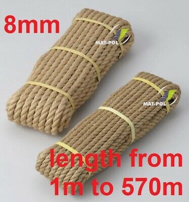 8 Mm Thick Heavy Duty Jute Rope High Quality Twisted Braided Garden Decking Cord • 1.55£