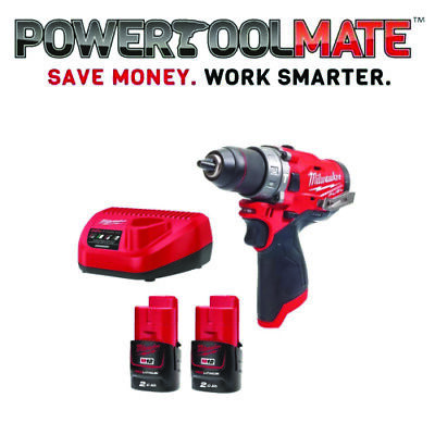 £149.99 • Buy Milwaukee M12FPD-202B FUEL Combi Drill Kit 2 X M12B2 Batteries, Charger & Bag