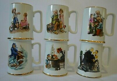$ CDN25.24 • Buy Vintage 1986 Norman Rockwell Mugs By Museum Collections Set Of 6 Discontinued