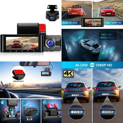 AU245.94 • Buy Dash Cam For Cars 4K Front Dashboard Camera And 1080P Rear Dashcam W4K WiFi IPS