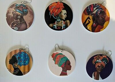 £2.99 • Buy Wooden Dangle Earrings With Intricate African Tribal Designs Jewellery