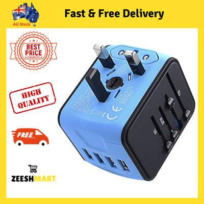 AU25.75 • Buy JOLLYFIT International Universal Travel Adapter 4 USB 2.4A Charger AC Power Blue