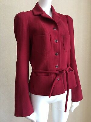 £75.05 • Buy CHRISTIAN LACROIX Bazar Red Wool Belted Jacket Size 40
