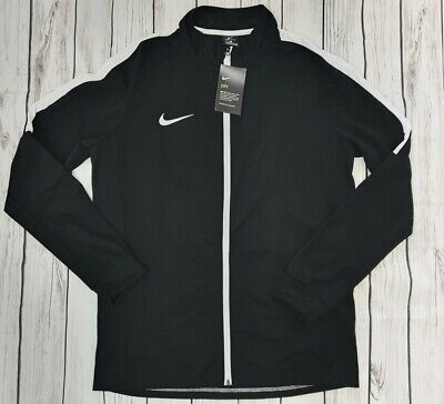 Nike Dri Fit Mens Academy Warm Up Black White Poly Zip Track Top Jacket Large • 24.99£