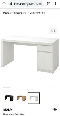 Ikea White Malm Desk Used Excellent Condition Rrp £99 • 35£