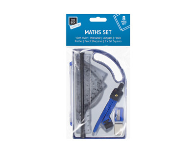 £0.99 • Buy Math Geometry Set Of 8 Pieces Stationery Back To School Exam Compass Protractor