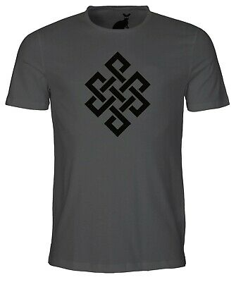 Endless Eternal Knot Symbol Mens T Shirt Tibetan Buddha Buddhism Chinese China • 9.99£