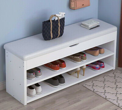 White Shoe Bench Shoes Cabinet Organizer Hallway Storage Rack With Seat Cushion • 42.99£
