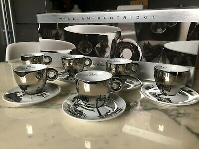 Illy Art Collection Cups William Kentridge 2008 Cappuccino Numbered Set Of 6 • 499.20£