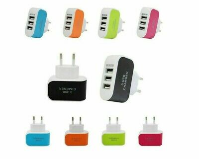 £0.99 • Buy USB Travel Adapters Plugs EU & US 3 Port For All Phone Chargers! NEW