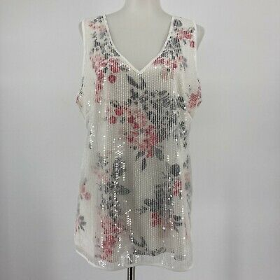 $ CDN34.24 • Buy White House Black Market Top Sequin Overlay Tank Pink White Floral Size Medium