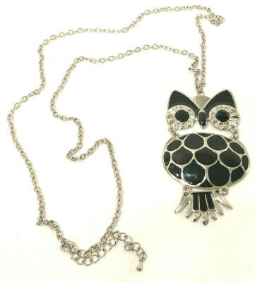 $ CDN13.91 • Buy Moveable Owl Necklace 14   Cabel Chain Black Inlay Silver Tone Trim