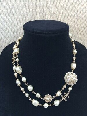 £987.65 • Buy New - CHANEL Double Strand Faux Pearl Necklace CC - Authentic