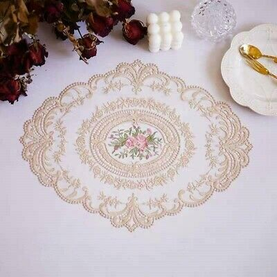 Oval Floral Lace Embroidered Placemats Doilies Table Runner Mats Cover Decor • 5.45£