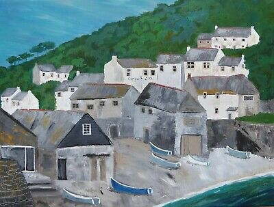 £80 • Buy Cadgwith, Cornwall : Original Painting, Houses, Village, Sea, Boats, Hills, Sky,