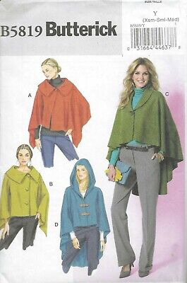 Women's Long Cape With Hood Wrap Scarf Sewing Pattern UNCUT High Low XS S M • 4.31£