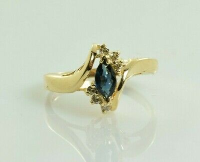 AU332 • Buy Sapphire And Diamond Ring In 14k Yellow Gold .30 Carats Size 7