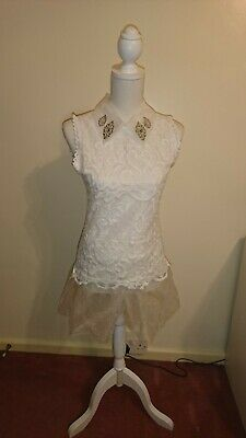 Lace Detail Top With Detailed Chiffon Collar UK S New • 3.49£