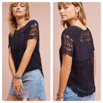 $ CDN44.18 • Buy Anthropologie Deletta Crochet & Lace Top Navy Blue Embroidered PETITE XS