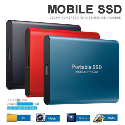 1TB 2TB Type-C USB3.0 External SSD Solid State Drives Portable Mobile Hard Drive • 31.59£