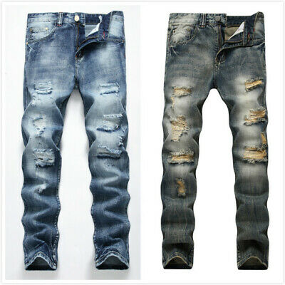 $29.99 • Buy Men Stretch Ripped Skinny Jeans Distressed Frayed Slim Fit Biker Pants Trousers