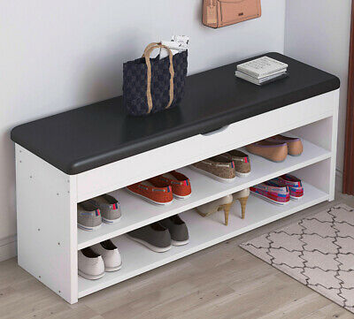 Shoe Bench Shoes Cabinet Organizer Hallway Storage Rack With Black Seat Cushion • 40.99£