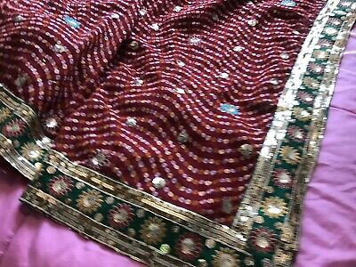 Saree Red Bhandhni With Embroidered Lace With Size 12-14 Fully Lined Blouse • 10£