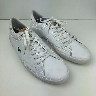 Lacoste Men's White Leather Trainers / Casual Shoes Size UK 12 / EUR 47 • 24.99£